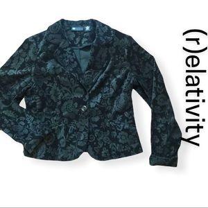 RELATIVITY - Black Floral Velvet Blazer